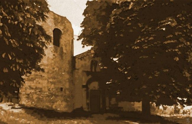 La Pieve di Corsignano, facciata - acquarello seppia